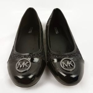 ♻️ Girls Michael Kors Black Ballet Flat Shoes